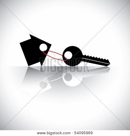 Concept Vector Of Buying House - Key Chain With Home Icon. The Graphic Also Represents Property Inve