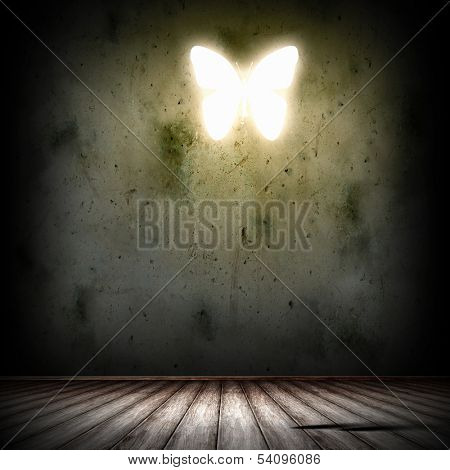 Grey background image with alight butterfly illustration