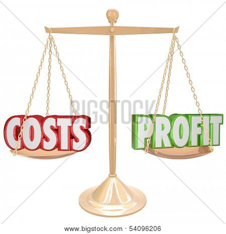Costs Vs Profits Words Scale Balance
