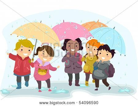 Illustration of Kids Holding Umbrellas While Walking in the Rain