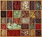 stock photo of mace  - Spices  in wooden box - JPG