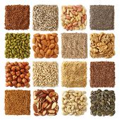 stock photo of flaxseeds  - Oil seeds and nuts collection - JPG