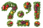 stock photo of punctuation  - Fruit and vegetable alphabet  - JPG