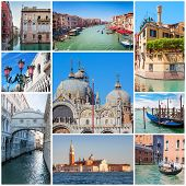 stock photo of gondolier  - Collage of images with Venice - JPG