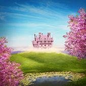 stock photo of castle  - Fairy tale landscape with castle - JPG