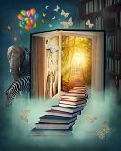 stock photo of upstairs  - Upstairs to the magic book land - JPG