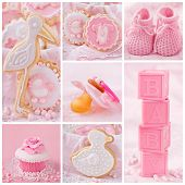 foto of stork  - Collage with sweets and decoration for baby party - JPG