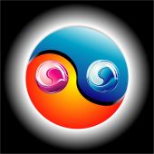 picture of ying yang  - Ying Yang Glossy Colorful style with high constrast colors - JPG
