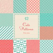stock photo of romantic  - 12 Cute different vector seamless patterns  - JPG