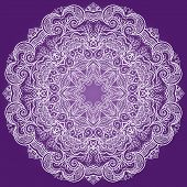Round Lace Ornament Isolated On Purple.