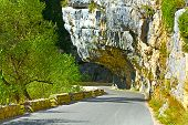 pic of french curves  - Winding Paved Road in the French Alps - JPG