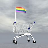 pic of gay symbol  - Shopping cart holding gay flag to symbolize homosexual people commerce into grey cloudy background - JPG