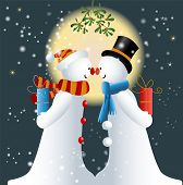 picture of mistletoe  - Two Snowman Kissing Under the Mistletoe   - JPG