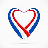 image of french curves  - Abstract glue white red heart ribbon flag - JPG