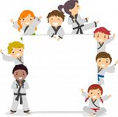 stock photo of karate  - Illustration of Kids Wearing Karate Uniforms Surrounding a Blank Board - JPG