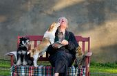 stock photo of cuddle  - Senior man with dogs and cat on his lap on bench