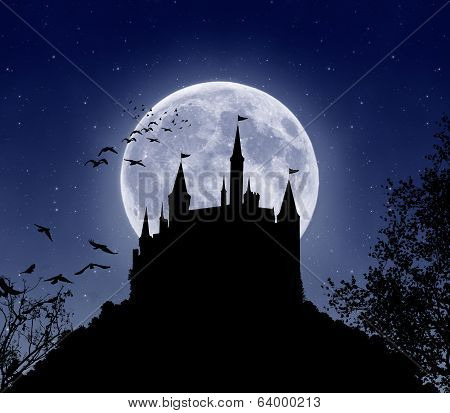 Castle in the night. Elements of this image furnished by NASA