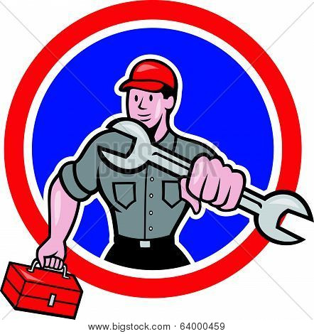 Mechanic Holding Spanner Toolbox Circle