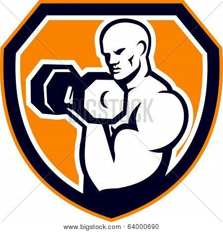 Strongman Pumping Dumbbells Shield Retro