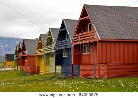Row of Colorful Houses in Longyearbyen, Svalbard