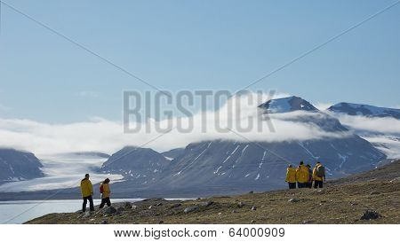 Svalbard, Norway - July 2013: Hiking in New London, Svalbard