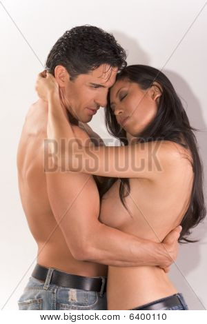 Young Couple Naked Man And Woman In Love Hugging