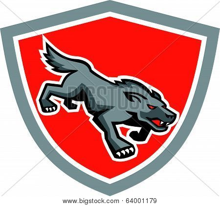 Angry Wolf Wild Dog Stalking Shield Retro