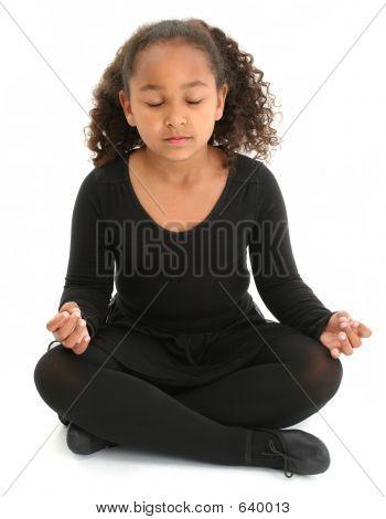 Beautiful Girl On Floor Meditating