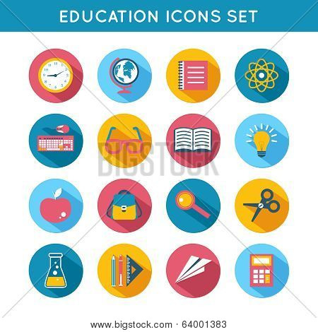 Education Icons Flat Set