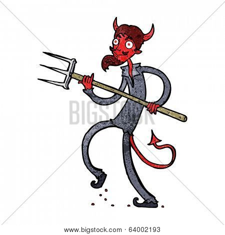 cartoon devil with pitchfork