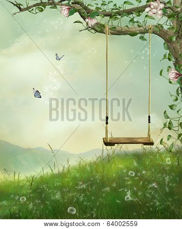a swing on the hill