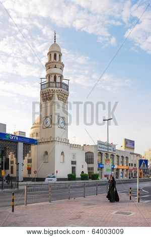 MANAMA, BAHRAIN - DECEMBER 26, 2007: Yateem Mosque on Government Avenue. It is located just footsteps away from Bab Al Bahrain Manama and next to the Batelco and Al Yateem Centre.