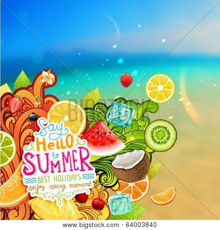 Summer holidays vector illustration set with sun, sky, ocean, fruits and berries.