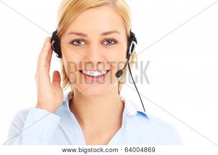 A picture of a happy teleworker over white background