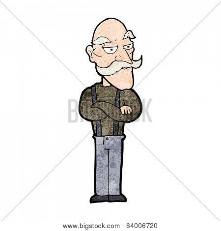 cartoon bored old man