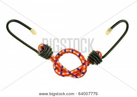 Red Elastic Strap With Black Hook Isolated