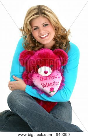 Blond Woman Valentine Bear