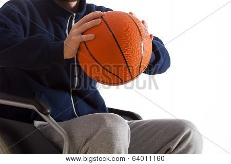 Disabled Man Throwing Basketball