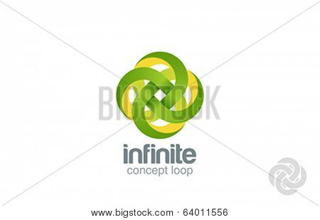 Abstract looped ribbon vector logo design template. Four loop shape. Quad cycle infinite. Infinity