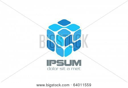 Cube Molecule nano technology vector logo design template. Box Electronics concept.  Future DNA