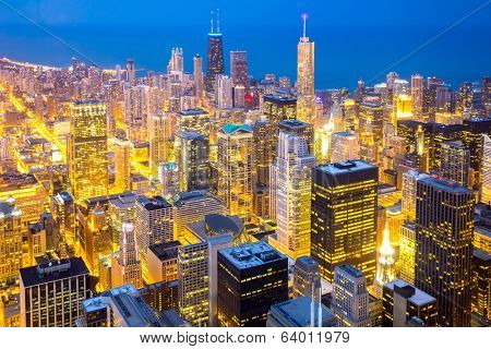 Aerial view of Chicago City downtown at dusk.