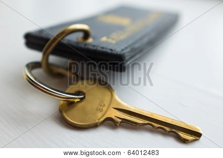 Hotel Key With Tag. Close Up