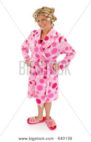 Blond Woman In Bathrobe