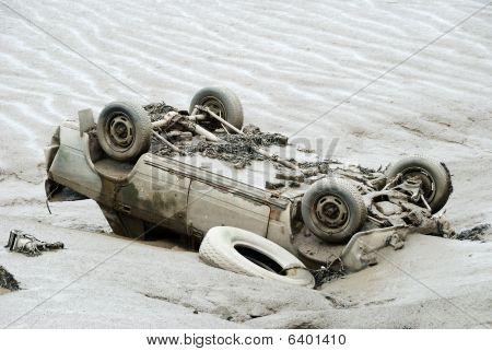 Overturned Car In River