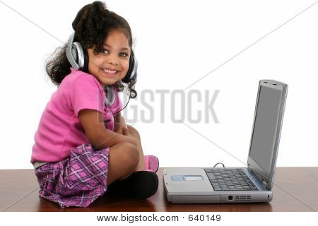Adorable Girl Laptop Headphones