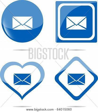 E-mail Icon Web Button Isolated On White
