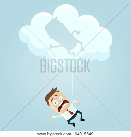 funny cartoon businessman is falling from a cloud