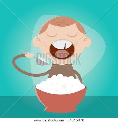 funny cartoon boy eating pulp