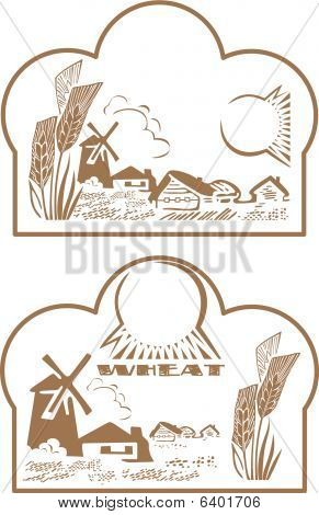 Label wheat and landscape