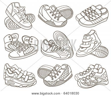set of modern sport shoes (coloring book)